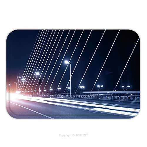 Flannel Microfiber Non-slip Rubber Backing Soft Absorbent Doormat Mat Rug Carpet Light Trails In Bridge Deck 113415397 for (Series 1 Deck Gas Oven)