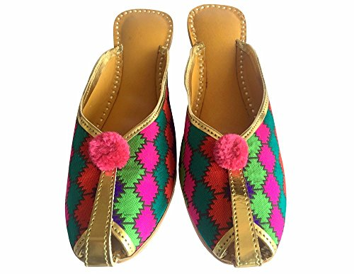 Step n Style mojari Zapatos jooti juti Zapato Plano Rajastán indio Boho Hippie Khussa multicolor - multicolor