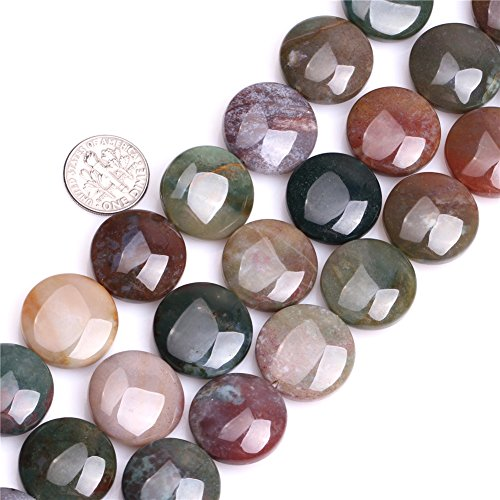 Joe Foreman Indian Agate Beads for Jewelry Making Natural Semi Precious Gemstone 20mm Coin Strand 15
