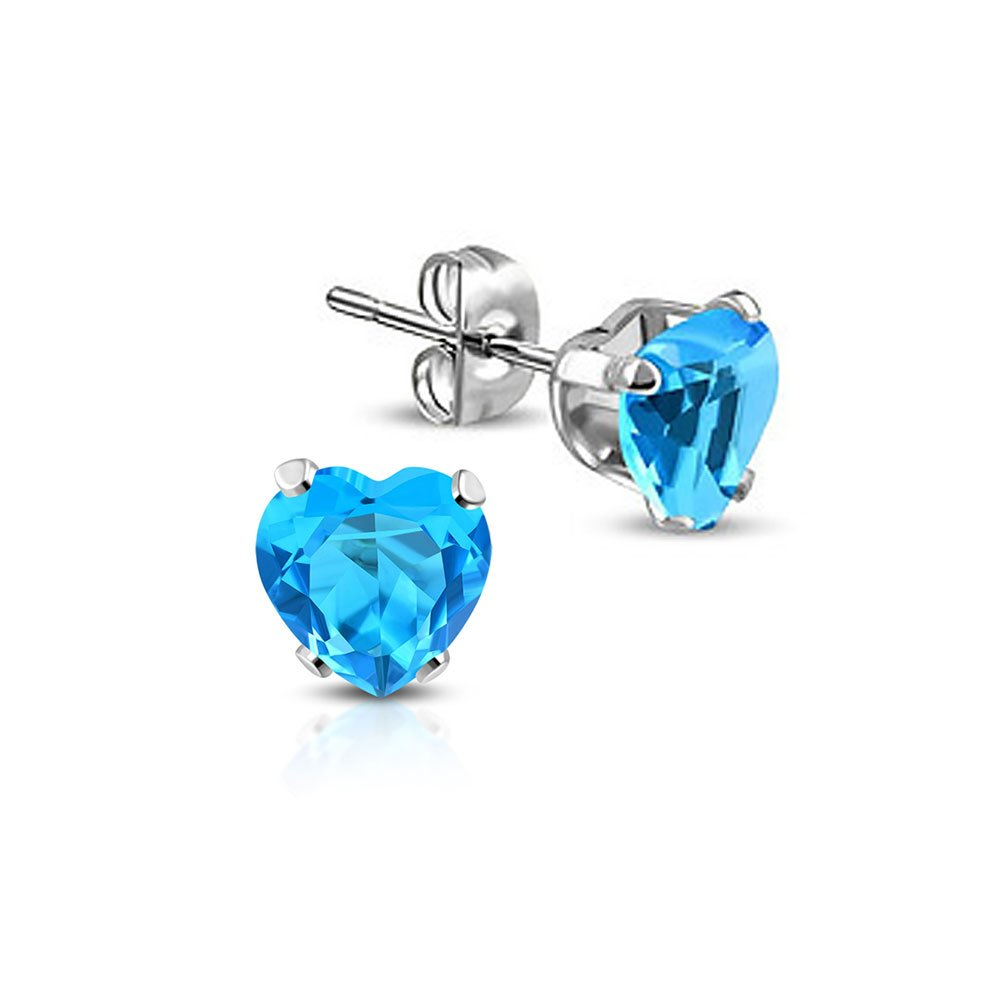 Stainless Steel Prong-Set Love Heart Stud Earrings with Sky Blue// Aquamarine CZ pair
