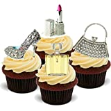 NOVELTY BLING LADIES MIX - Handbag, Shoes, Make Up, Glamour - Standups 12 Edible Standup Premium Wafer Cake Toppers - 2 x A5 sheet - 12 images