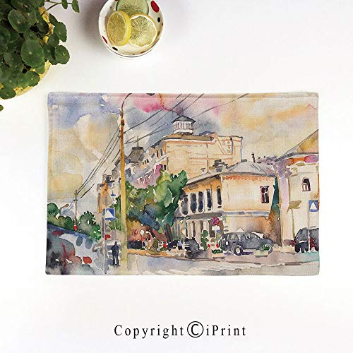 LIFEDZYLJH Everyday Place mat for Dinner Parties,Summer Outdoor Picnics,Set of 4,Machine Washable,Watercolor Painting of a City Street with Buildings and Cars Soft Artistic Display,Multicolor