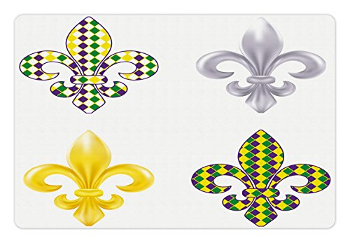 Ambesonne Mardi Gras Pet Mat for Food and Water, Fleur De Lis Motifs with Mardi Gras Pattern Traditional Lily Flowers Pattern, Rectangle Non-Slip Rubber Mat for Dogs and Cats, ()