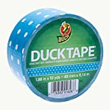 "Duck Brand Polka Dot Printed Duct Tape, 10 yards Length x 1-7/8"" Width, Turquoise"