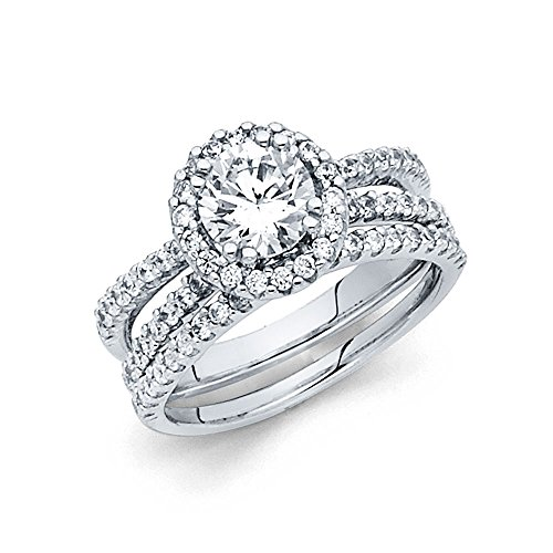 14K Solid White Gold 1.25 cttw Polished Halo Cubic Zirconia Engagement Wedding Ring, Size 7.5 by Paradise Jewelers