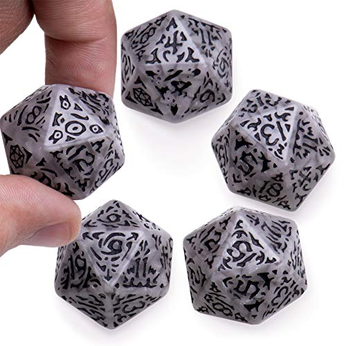 - Battle-Scarred Jumbo d20 Polyhedral Dice (5-Pack) | Distressed Giant Twenty-Sided Dice with Extra Abrasion for Natural Imperfections | Gray Faux Stone Look for Tabletop RPGs, D&D, Adventure Games