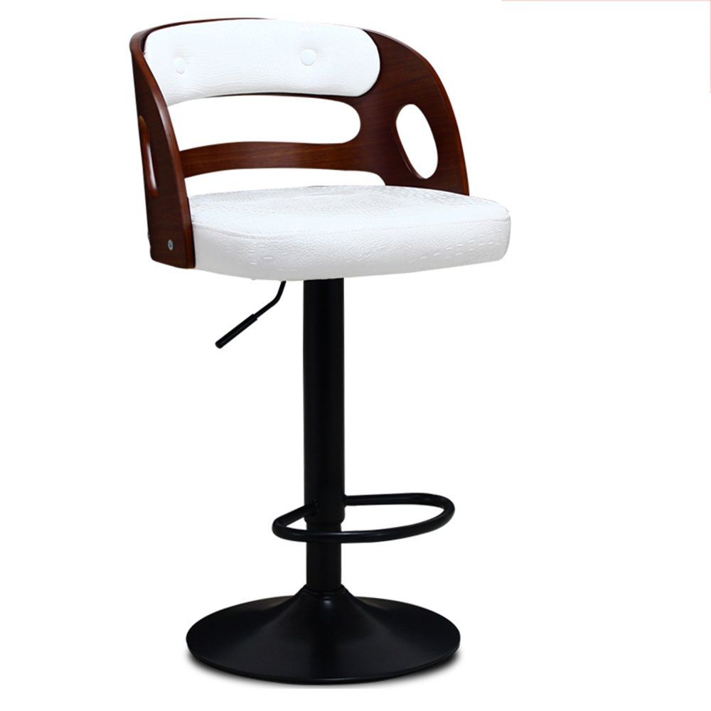 Solid wood backrest, PU leather paint, high stool, lift bar chair, solid wood bar stool ( Style : C ) by Xin-stool