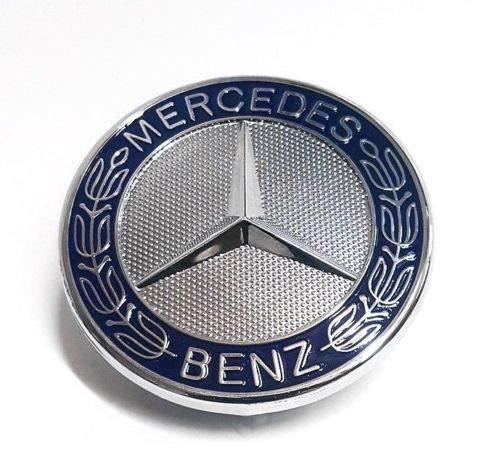 WholesaleNYAutoParts Blue Flat Hood Emblem Ornament Logo for Mercedes Benz C E SL CLS S ()