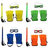 ULKEME Children Snorkel Set Full Face Snorkeling Mask With Adjustable Diving Fins Anti-Fog Lens