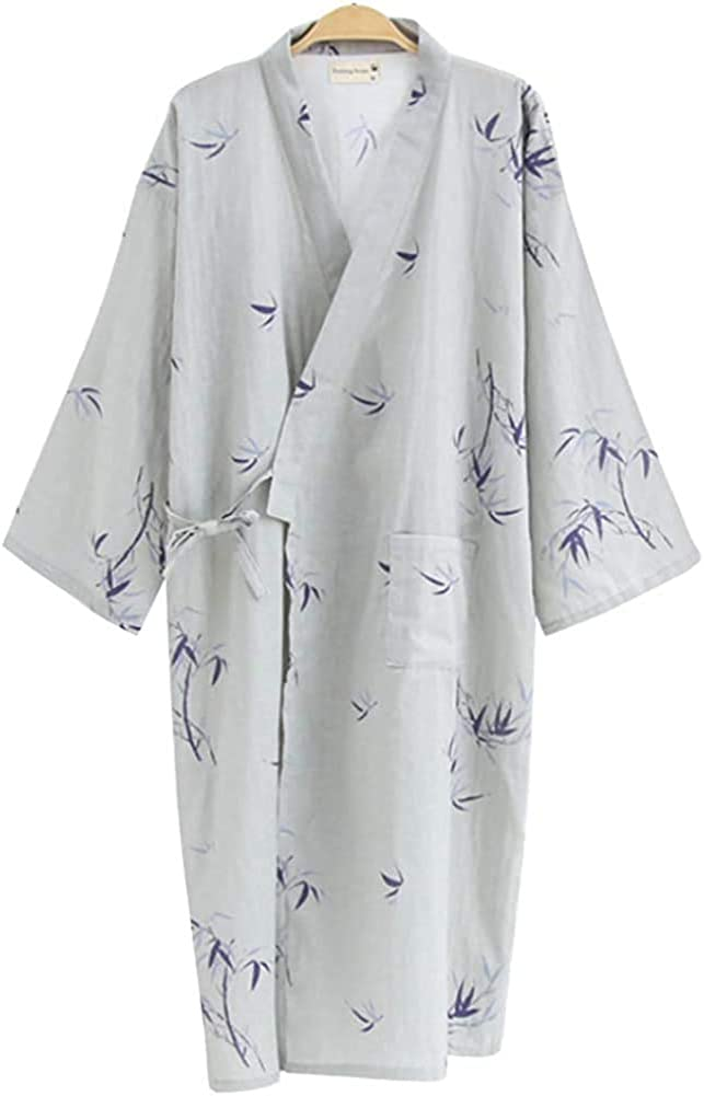 Shanghai Story Men Cotton Kimono Bathrobe with Pockets Robe Bamboo Printed Sleepwear