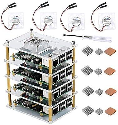 GeeekPi Raspberry Pi Cluster - Carcasa para Raspberry Pi 4 Modelo B, Raspberry Pi con Ventilador de refrigeración y disipador de Calor Raspberry Pi 3 Modelo B+, Raspberry Pi 3/2 Modelo B: Amazon.es: Electrónica