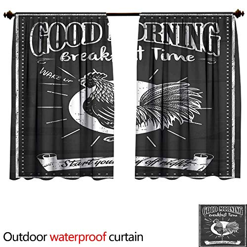 BlountDecor Retrosun Block Outdoor Curtain W72 x L72(183cm x 183cm) Chalkboard Art Good Morning Rooster in Retro Style Inspirational Phrase PrintAnti-waterBlack and White ()
