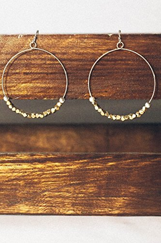 Fair Trade Fashion Earrings for Women: Sparkly Gold Hoops Handmade by The Madres Collective.
