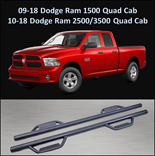 CONEXT Hoop Style Dropped Steps Textured Nerf Bars for 2009-2018 Dodge Ram 1500 Quad Cab/2010-2018 Dodge Ram 2500 & 3500 Quad Cab 289-TX-77