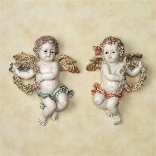 Touch of Class Heavens Garden Cherub Plaque Set of Two