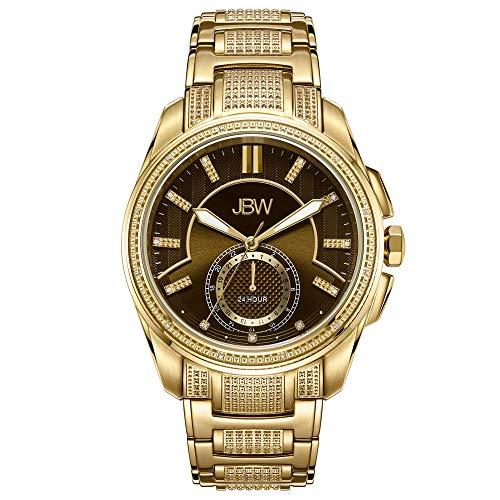 JBW Luxury Men's Prince J6371A 0.23 Karat Diamond Wrist Watch with Gold-Plated Stainless Steel - Wrist Watch White Gold Plated