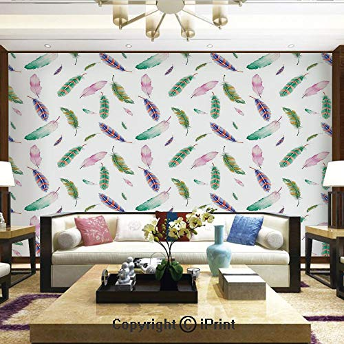 Lionpapa_mural Removable Wall Mural   Self-Adhesive Large Wallpaper,Digitally Drawn Bird Feathers with Vibrant Abstract Design Animal Themed Artwork,Home Decor - 66x96 inches