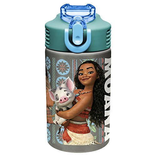 Zak Designs Moana 15.5oz Stainless Steel Kids Water Bottle with Flip-up Straw Spout - BPA Free Durable Design, Moana SS