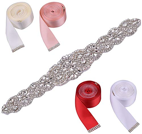 Rhinestone Belt Bridal Wedding Belts with 4 Color Ribbon Sashes Easy to Replace,Women Bridal Sash Belt Crystal belt for Wedding(Silver;11')