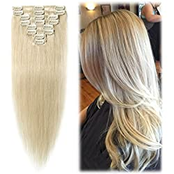 """24 inch/85g Clip in Hair Extensions 100% Remy Human Hair Platinum Blonde Silky Straight 8pcs Full Head for Women Beauty 14 Colors Hot Sale-24"""",#60"""