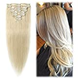 remy platinum - 24 inch/85g Clip in Hair Extensions 100% Remy Human Hair Platinum Blonde Silky Straight 8pcs Full Head for Women Beauty 14 Colors Hot Sale-24