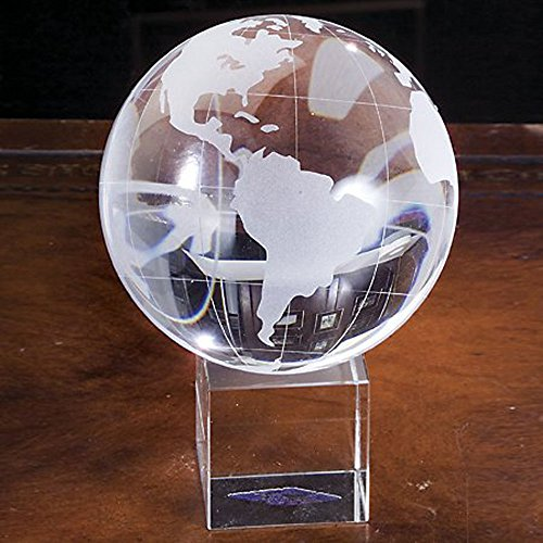 Amlong Crystal Globe on Crystal Stand with Gift Box - 4.75 Inch