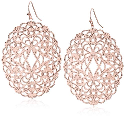 Womens Filligree Oval Drop Earringsring, Rose Gold, One Size