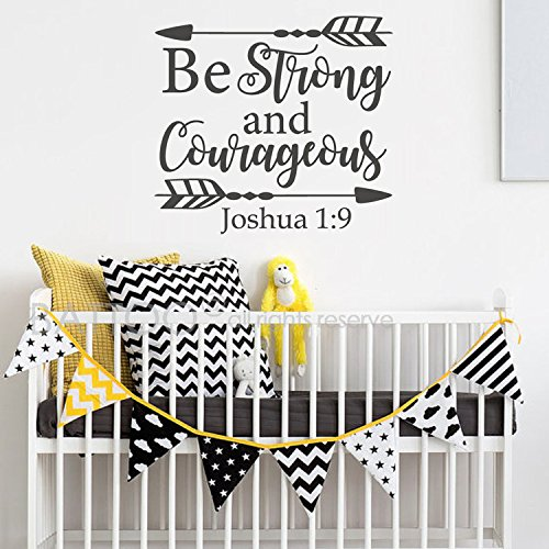 BATTOO Joshua 1:9 Be strong and courageous - Nursery Wall Decal Quote Arrows Vinyl Wall Decal - Bible Verse Boy Room Scripture Wall Decal Vinyl Lettering(Black, 17.5