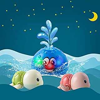 Bath Toys, Spray Water Toys for Kids Bathtub Toys for Toddlers Baby Squirt Toys LED Light Up Float Toys with Two Turtle Toys for Toddlers 1-3, Baby Bath Toy Infant Kid Water Sprayer Toys