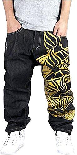QIBOE Mens Vintage Graffiti Hip Hop Style Baggy Jeans Denim