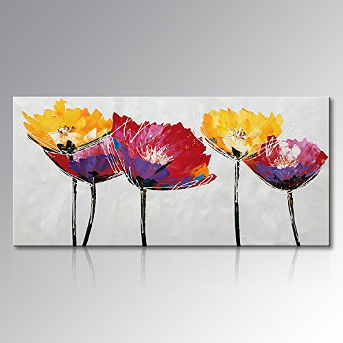 Seekland Art Hand Painted Large Flower Oil Painting on Canvas Wall Art Abstract Picture Floral Decor Contemporary Artwork No Frame (72''W x 36''H) by Seekland Art