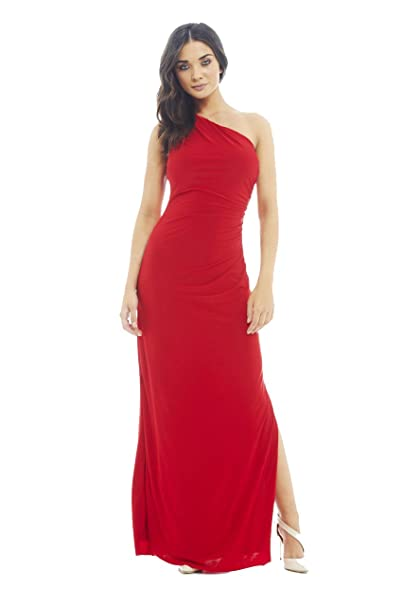 AX Paris One Shoulder Leg Split Slinky Maxi Dress(Red, Size:6)