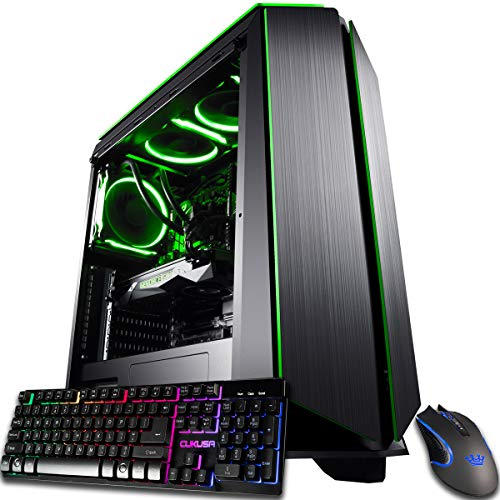 CUK Mantis Custom Gaming PC (Intel i7-9700K, 16GB DDR4-2666 RAM, 1TB NVMe SSD, NVIDIA GeForce RTX 2070 8GB, 500W Bronze PSU, Windows 10) The Best New VR Ready Tower Desktop Computer for Gamers