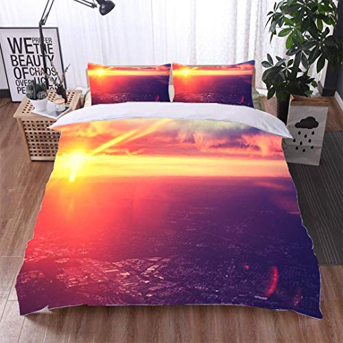 VROSELV-HOME European Style Print Bed Set,Vintage Purple Toned Dramatic Sunset seen from Plane,Soft,Breathable,Hypoallergenic,100% Cotton Bedspread/Quilt Set,3 Pieces