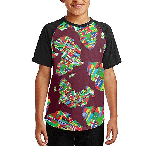 Cheap Africa Flag Colortone Youth Short Sleeves Raglan Print Baseball T-Shirts Tops for cheap