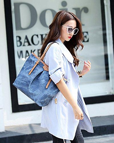 Denim A Donne A Borsa Grande Tote Borse Bag Capacità Tracolla Shopper Pattern Borse Mano Azzurro FvqXwF