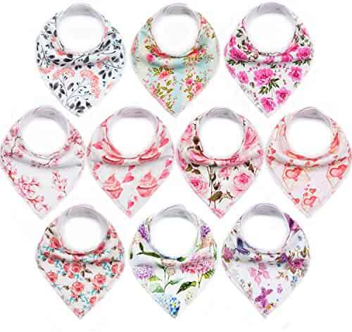"10-Pack Baby Bibs Upsimples Bandana Bibs Baby Girl Bibs for Drooling and Teething, 100% Organic Cotton and Super Absorbent Drool Bibs Baby Shower Gift - ""Blossom Set"""