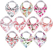 10-Pack Baby Bandana Bibs Upsimples Baby Girl Bibs for Drooling and Teething, 100% Organic Cotton and Super Absorbent Hypoal