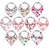10-Pack Baby Bandana Bibs Upsimples Baby Girl Bibs for Drooling and Teething, 100% Organic Cotton and Super Absorbent Hypoallergenic Bibs Baby Shower Gift -'Blossom Set'