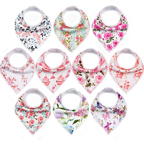 "10-Pack Baby Bandana Bibs Upsimples Baby Girl Bibs for Drooling and Teething, 100% Organic Cotton and Super Absorbent Hypoallergenic Bibs Baby Shower Gift - ""Blossom Set"" by upsimples (Image #9)'"