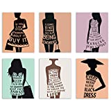 For the fashionista in your life, these prints of dress silhouettes with inspirational fashion quotes give a fun, stylish kick to any bedroom or walk-in closet. The soft pastel colors with bold statements make a room instantly chic and classy...