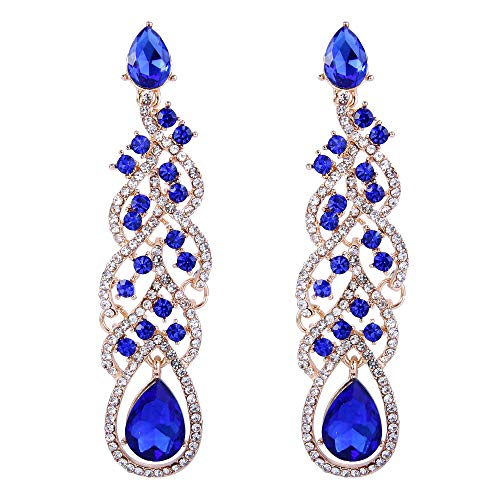 BriLove Wedding Bridal Dangle Earrings for Women Crystal Teardrop Hollow Floral Leaf Cluster Earrings Royal Blue Sapphire Color Gold-Toned ()