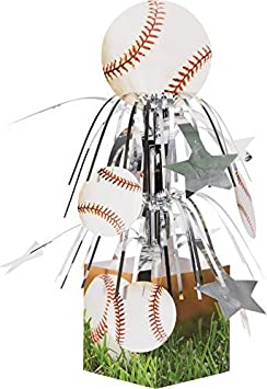 White Creative Converting Sports Fanatic Baseball Centerpiece with Mini Cascade and Base 3-Pack