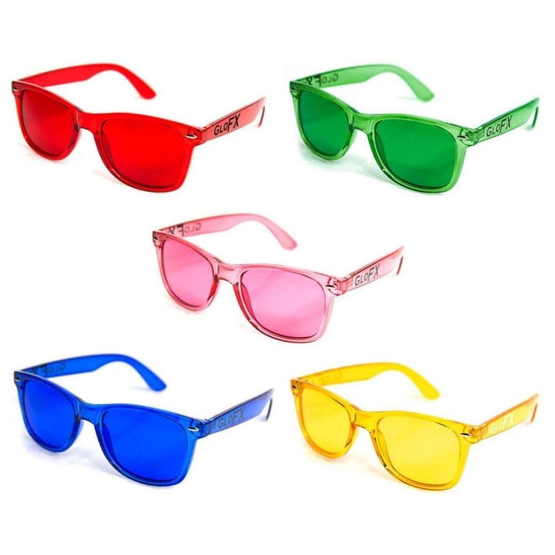 GloFX Color Therapy Glasses - 5 Pack - Chakra Mood Light Therapy Chromotherapy Glasses by GloFX