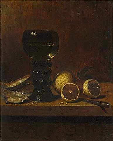 Oil Painting 'Jan Van De Velde Still Life A Goblet Of Wine Oysters And Lemons ' Printing On High Quality Polyster Canvas , 24 X 30 Inch / 61 X 76 Cm ,the Best Gym Artwork And Home Decoration And Gifts Is This High Resolution Art Decorative Canvas Prints
