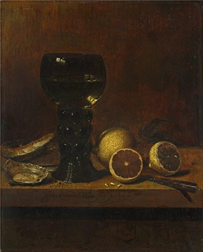 'Jan Van De Velde Still Life A Goblet Of Wine Oysters And Lemons ' Oil Painting, 24 X 30 Inch / 61 X 76 Cm ,printed On Polyster Canvas ,this Amazing Art Decorative Canvas Prints Is Perfectly Suitalbe For Living Room Gallery Art And Home Decoration And Gifts