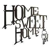 Home Sweet Home Key Hook Wall Key Holder - Hooks Design, Metal, Black