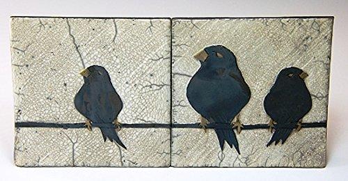 MJ Wilkinson Pottery ''The Party Line'' Art Wall Tile Raku (Wall Raku Tile)