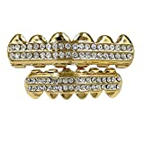 Gold Grillz Teeth Set Best gift for Son-New Custom Fit 14k Plated Gold Cruz Diamonds Grillz - Excellent Cut for All Types Of Teeth–6pcs Top and Bottom Grill Set - Hip Hop Bling Grillz
