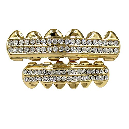 (Gold Grillz Teeth Set Best Gift for Son-New Custom Fit 14k Plated CZ Diamonds Grillz - Excellent Cut for All Types of Teeth - Top and Bottom Grill Set - Hip Hop Bling Grillz )